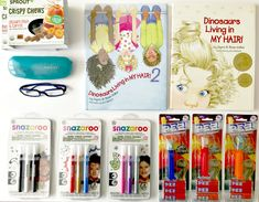 Fun with our Babbleboxx #Just4KidsBBxx  - face paints from Snazaroo, Dinosaurs Living in My Hair Books, Jurassic World PEZ Candy, Zenni Optical Glasses, and Crispy Chews from Sprout Foods