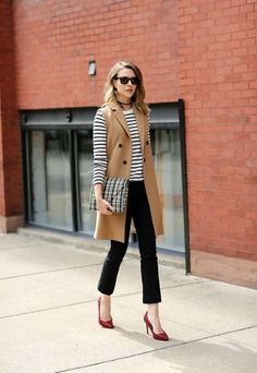 Have the b & w striped tee, love this long camel vest for layering.