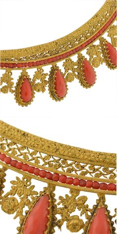 Detail views of a French Empire Regency Era Faceted Coral & Gilt Tiara. This piece is made of gilded brass and decorated with fine filigree wirework and hand cut coral. Thirteen teardrop shaped coral stones represent the points of the tiara and a row of faceted coral stones form a single row at the base. ca. 1800's