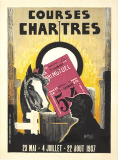 Art Ad Courses Chartres  1937 Horse racing Deco  Poster Print