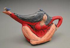 """Linda Lewis Anyone for Bird Tea? stoneware clay, glazes, overglaze, low fired with food safe glazes, 10"""" x 12"""" x 5"""""""