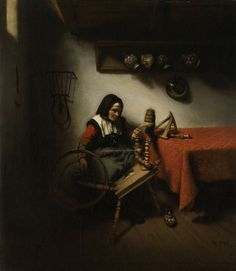 Nicolaes Maes | Old Woman Spinning, Nicolaes Maes, 1650 - 1660 | De spinster. Links van een tafel zit een oude vrouw wol te spinnen. Tegen de muur een rek waaraan vier kruiken hangen.