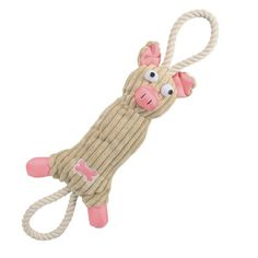 Jute And Rope Plush Pig - Pet Toy- Pink