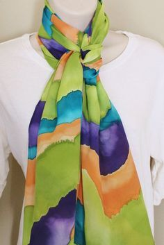 de13e9a1763e Hand Painted Silk Scarf - Handpainted Scarves Teal Purple Green Olive  Orange Turquoise Blue Eggplant Avocado Lime Rust Watercolor Southwest