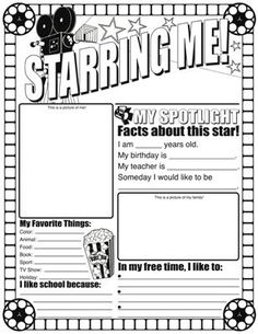 "Back-to-School activity; ""Starring Me"". FREE"
