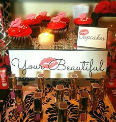 Cosmetics, cocktails, cookies, chocolate and cupcakes by candlelight birthday party make up display! See more party planning ideas at CatchMyParty.com!