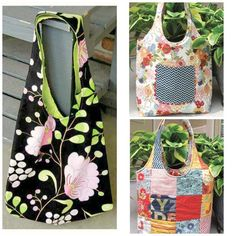 This reversible summer hobo bag is fun to sew and a classic bag style for all ages. One side of this bag is created with 28 adorable charm squares while the other side uses coordinating fabric. An easy to sew patch pocket compliments one side. Crochet Handbags, Crochet Purses, Crochet Bags, Crochet Ideas, Sewing Patterns Free, Free Sewing, Quilting Patterns, Hobo Bag Tutorials, Hobo Bag Patterns
