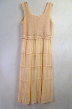 Gauze Cotton Dress Knit Bodice Vintage Ecru by SweetRepeatVintage, $29.00