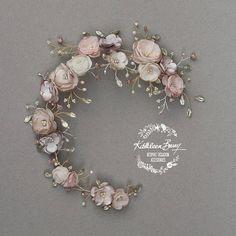 Couronne florale mariée en vieux rose et taupe Champagne blush