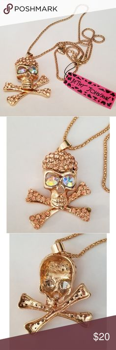 Betsey Johnson Crystal Skull Crossbones Necklace Betsey Johnson Skull Pendant Necklace - NWT - Missing one crystal on bottom right Betsey Johnson Jewelry Necklaces