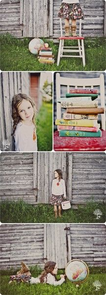 Vintage style back to school child photography