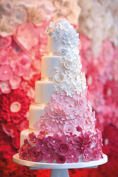 Beautiful Cake Pictures: Cascading Pink Ombre Flowers on Wedding Cake - Flower Cake, Pink Cakes, Wedding Cakes - Wedding Cakes With Flowers, Beautiful Wedding Cakes, Beautiful Cakes, Amazing Cakes, Cake Wedding, Beautiful Flowers, Star Wedding, Wedding Cupcakes, Bridal Flowers