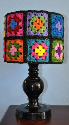 Bright Granny Squares & Black make a striking Lamp!