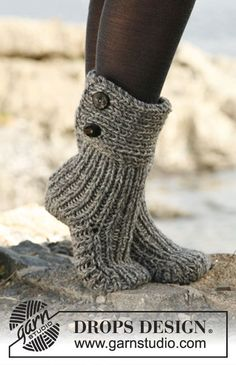 Moon Socks by DROPS Design - Cutest Knitted DIY: FREE Pattern for Cozy Slipper Boots. I love my knitted slippers, would definitely love these! Crochet Slipper Boots, Crochet Socks, Knitted Slippers, Knitting Socks, Knit Crochet, Slipper Socks, Knit Socks, Cozy Socks, Knit Slippers Free Pattern