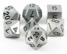 Metal Dice (Antique Silver) RPG Role Playing Game Dice Set