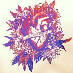 Serigraphie Fifi!  J'ai le coeur grenadine #serigraphie #screen print #heart #coeur #tatoo #grenadine #draw #print #ink #lucyinzesky #feuillage #fleur #fanion   #lucy #inzesky #illustration #sketch