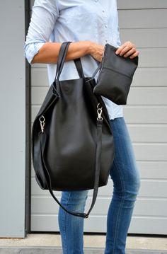 LINN duża damska torebka skórzana Black Leather Tote Bag, Black Tote, Leather Shoulder Bag, Pebbled Leather, Duffy, Large Tote, Bucket Bag, Casual Outfits, How To Wear