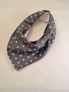 Gray/White Polka Dot Baby Bib #2/White Minky Fabric/Bandana Bib/Drool Bib by OccasionalGoods on Etsy