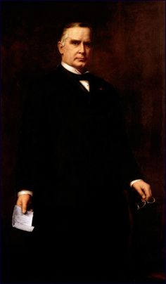 The 25th President of the U.S., William McKinley.  He was assassinated, making Teddy Roosevelt president.