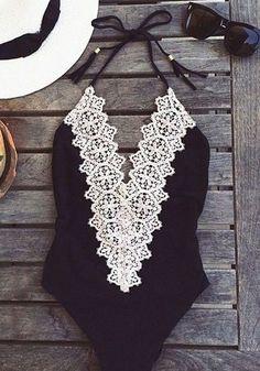 Black Plain Condole Belt Lace Tie Back Dacron Swimwear