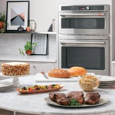Angled shot of 5 course meal on counter with combo oven in background Wall Oven Microwave Combo, Combination Microwave, Built In Microwave, 5 Course Meal, Electric Wall Oven, Single Oven, Oven Racks, Fresh Vegetables, Healthy Recipes