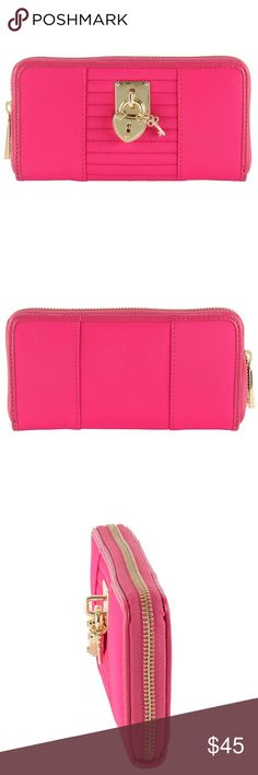 Juicy Couture Nylon Zip Around Wallet The Juicy Couture Wallet is a classic and sophisticated wallet. Nylon Exterior, leather trim and quilted panels enhanced with heart key and padlock. The perfect size for her essentials Features a zip-around closure 12 credit card slots, slip Pockets, bill slot and a coined zippered compartment.                              Imported Product Dimensions: 7.9 x 5.2 x 1.8 inches Item Weight8 ounces Juicy Couture Bags Wallets