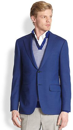 Blue Wool Blazer by Canali. Buy for $1,195 from Saks Fifth Avenue