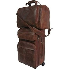 New Trending Luggage: AmeriLeather Leather Two Piece Set Traveler (Waxy Brown). AmeriLeather Leather Two Piece Set Traveler (Waxy Brown)   Special Offer: $192.99      433 Reviews Make a fashion statement when you travel with this handsome and durable all matching leather three-piece luggage set that includes two vertical pullmans and one boarding tote bag.21-inch...