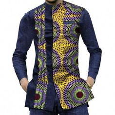 It's easy to achieve an effortlessly confident look in these handsome, high-quality African dashiki casual shirts. Your casual wear will never be the same when you add these stylish and contemporary African dashiki pattern designs. Whether worn alone or u African Wear Styles For Men, African Shirts For Men, African Attire For Men, African Clothing For Men, Traditional African Clothing, African Style, Nigerian Men Fashion, African Print Fashion, Africa Fashion