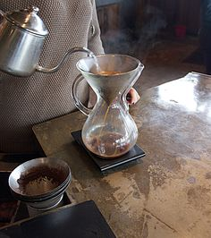 Pour over coffee at Coava coffee in Portland Oregon