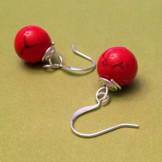 Red natural stone wire wrapped dangle earrings on Etsy, $11.49