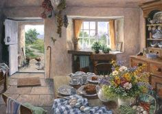 Tea in the Kitchen - Stephen Darbishire Storybook Cottage, Cottage Art, Cottage Style, Nostalgia Art, Cosy Room, Vintage Interiors, Through The Window, Elegant Homes, Kitchen Art