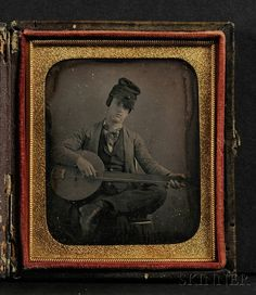 Sixth Plate Daguerreotype Portrait of a Young Man Playing a Banjo www.fairfieldauction.com