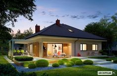 Projekat – Najbolji projekat 2013 godine u Poljskoj AC Flay III Modern Bungalow, Bungalow House Design, Bungalow House Plans, Cottage Design, House Plans Mansion, Model House Plan, Contemporary House Plans, Modern Mansion, House Layouts