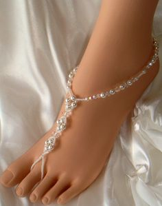 Crystals n Pearl Barefoot Sandals, Foot Jewelry, Beach Wedding Sandals $40.95