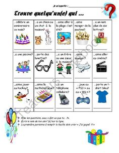 Amazing student icebreaker that is FULL of visual clip art to accommodate all students' needs. This icebreaker is great as a first days of school activity and allows your students to get to know each other after a long break! Lots of FUN for EVERYONE! First Week Of School Ideas, First Day Of School Activities, French Teacher, Teaching French, Teaching Spanish, Teaching Resources, Icebreakers For Kids, Core French, French Education