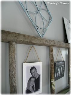 Kammy's Korner: Ladder on the wall with photos hung by jute