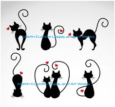 Cats in Love Vector Illustrations - Cricut - Gatos Cat Icon, Kitty Tattoos, Cat Drawing, Crazy Cats, Cat Love, Rock Art, Clipart, Painted Rocks, Vector Free