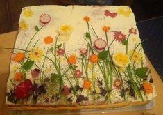 #brottorte                                                                                                                                                     Mehr #koudehapjes #brottorte                                                                                                                                                     Mehr Sandwich Cake, Tea Sandwiches, Food Design, Veggie Quinoa Bowl, Bread Art, Best Party Food, Food Garnishes, Salty Cake, Snacks Für Party