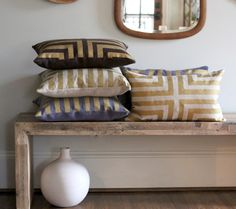 Great hemp pillows with gold design - via Etsy