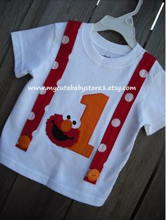 1st and 2nd Elmo Birthday Suspenders Tshirt by mycutebabystore1, $23.00