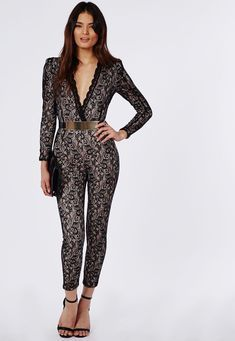 462fa1bdd344 Enana Lace V Neck Belted Jumpsuit - Jumpsuits   Playsuits - Clothing -  Missguided