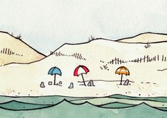 Beach Umbrellas and Whale Print 8x10 by studiotuesday on Etsy, via Etsy.