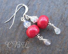 Holly Berry Red Polymer Clay and Crystal Holiday Earrings