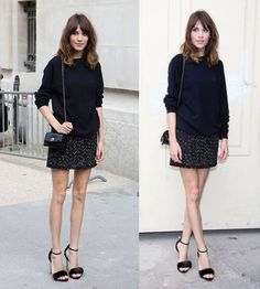 Saia de tweed #tweed #skirt #saia #looks #look #streetchic #streetchic #fashion #moda #style