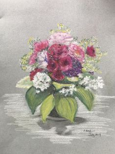 Vase of summer pink (pastel) Pastel, Summer, Pink, Painting, Art, Cake, Summer Time, Painting Art, Paintings