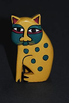 Handpainted Laurel Burch Carved Wooden Sitting Cat