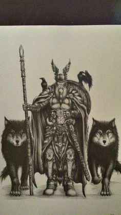 sketch sketchYou can find Mythology and more on our website. Zeus Tattoo, Norse Tattoo, Celtic Tattoos, Viking Tattoos, Odin Norse Mythology, Norse Symbols, Art Viking, Viking Warrior, Tatuagem One Piece