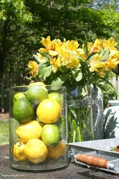Lemons and Limes Centerpiece in Glass Hurricane