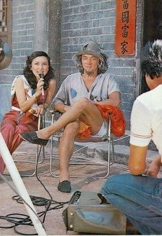 """gutsanduppercuts:  Jackie Chan being interviewed on the set of """"Young Master""""."""